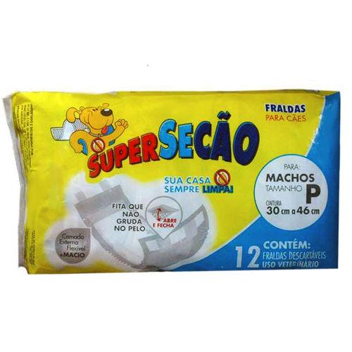 Fralda Super Secão Cães Machos P30X46 com 12 Unidades Petix