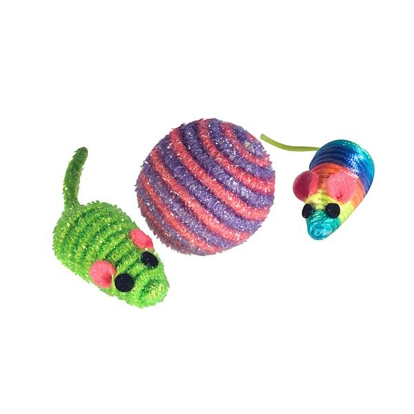 Brinquedo Ratinho + Bola Pra Gato Ws Pet
