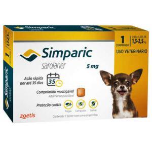 Antipulgas Simparic  Cães de 1,3 a 2,5 Kg (1 Comprimido)