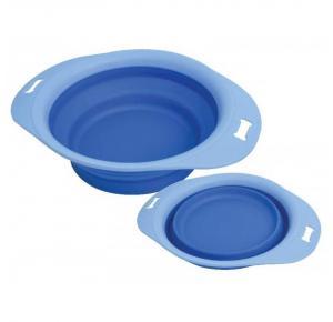 Comedouro Borda Plastico Silicone Azul