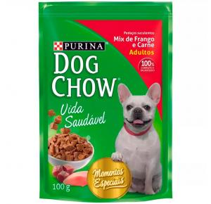 Ração Úmida Sachê Purina Dog Chow Cães Adultos Sabor Mix de Frango e Carne – 100g