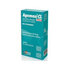 Agemoxi CL 250mg antibacteriano para cães e gatos