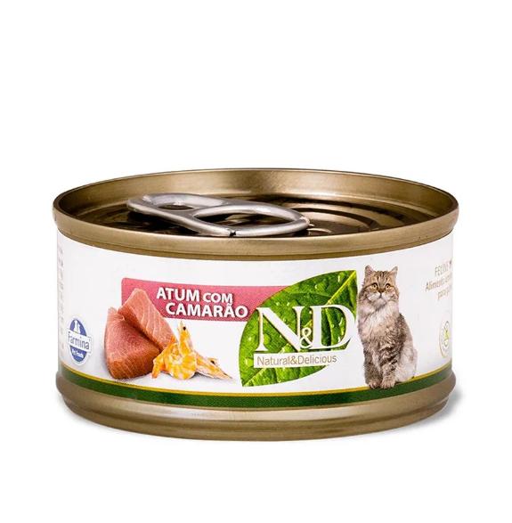 Alimento Úmido N&D Feline Atum com Camarão 70g