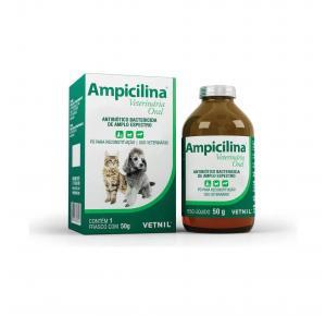 Ampicilina Veterinária Antibiótico Oral para Cães e Gatos 50gr Vetnil