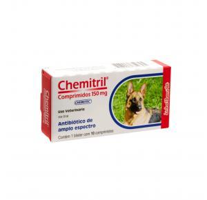 Antibiótico Chemitril para Cães 150mg com 10 comprimidos Chemitec