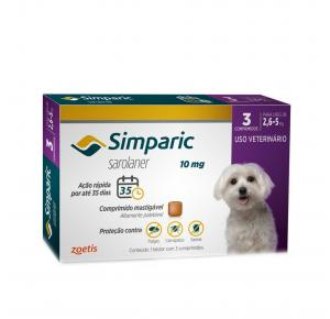 Antipulgas Simparic Cães de 2,6 a 5 Kg (3 Comprimidos)