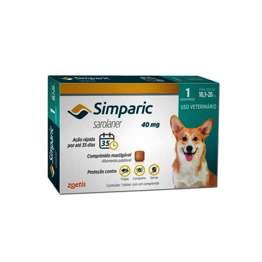 Antipulgas Simparic Cães de 10.1 à 20 kg 1 Comprimido