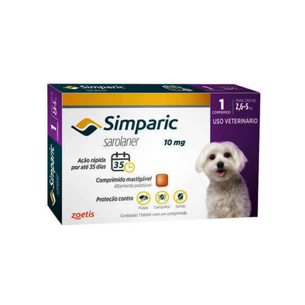 Antipulgas Simparic Cães de 2.6 à 5kg 1 Comprimido