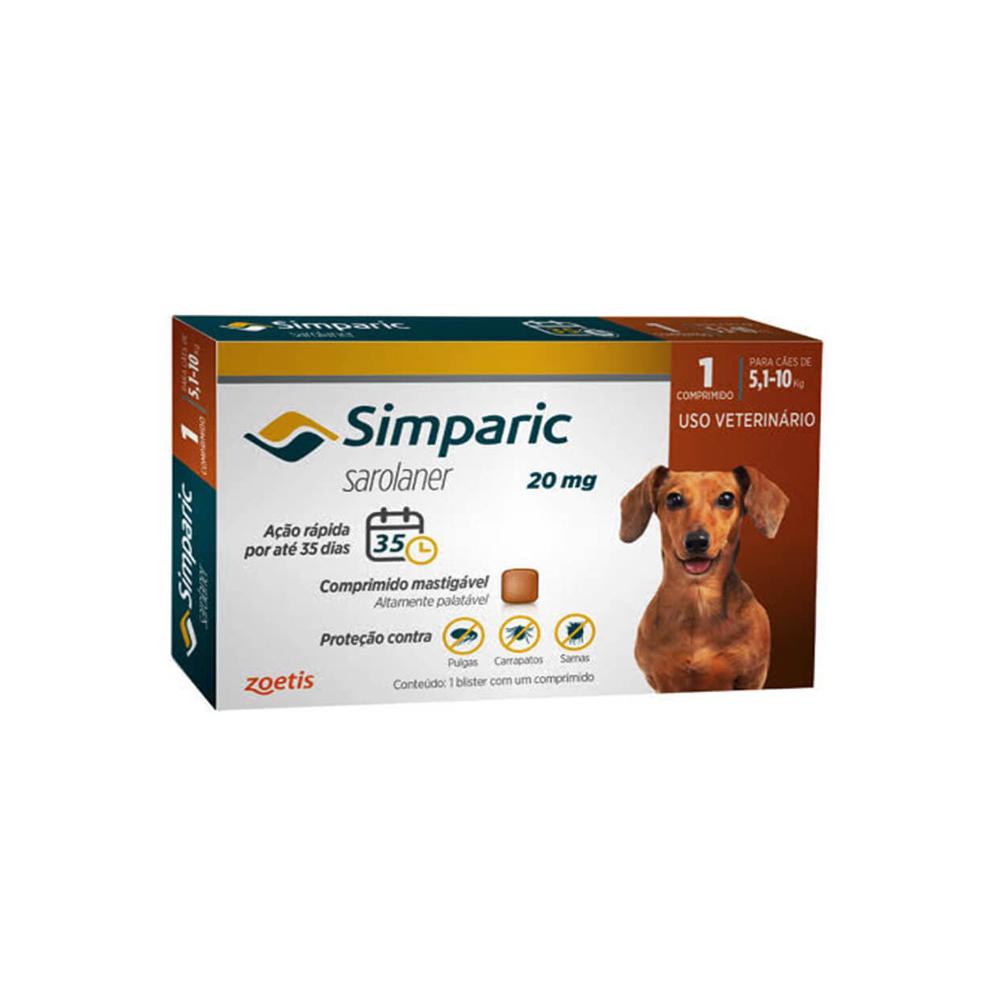 Antipulgas Simparic Cães de 5.1 à 10kg 1 Comprimido
