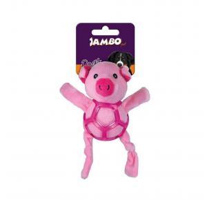 Brinquedo Mordedor para Cães Pelúcia Net Ball Porco Jambo Pet