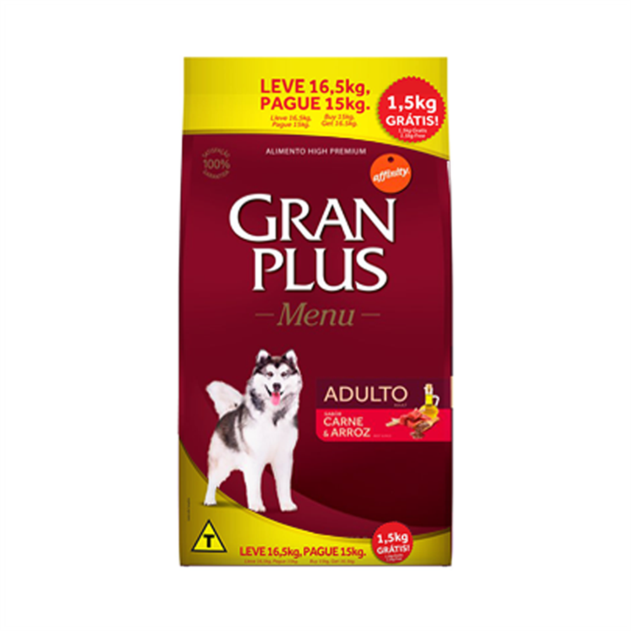 Ração GranPlus para Cães Adultos Carne E Arroz 16.5kg