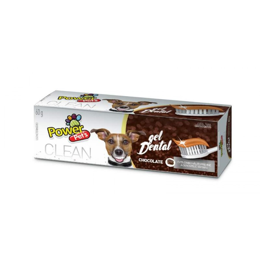 Gel Dental Chocolate Power Pets 60g Power Pets para Cães