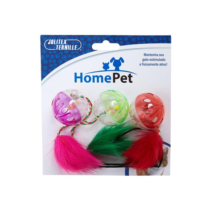 Brinquedo  Trio Bola Pra Gato Home Pet