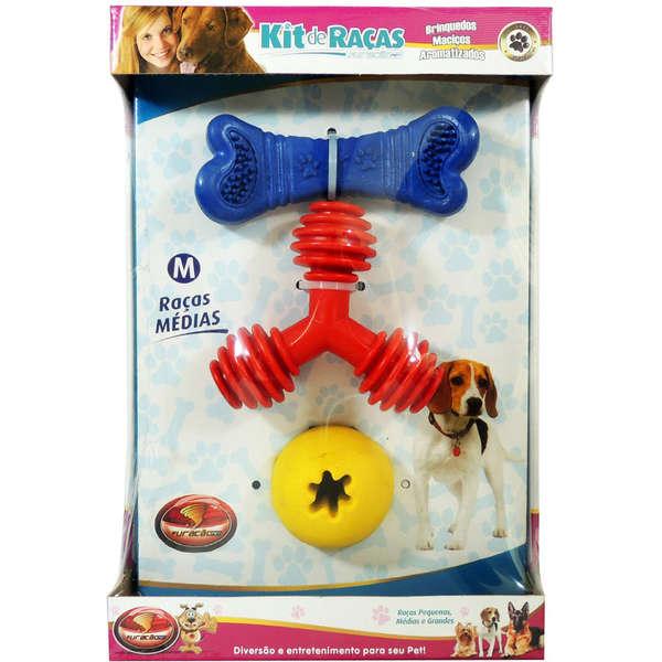 Kit de Brinquedos Furacão Pet para Raças Médias