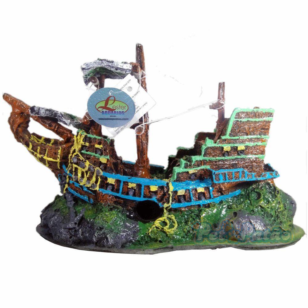 Lester Enfeite Resina Rs-225 Barco Viking Azul E Verde ( 34cm X 14cm X 21cm )