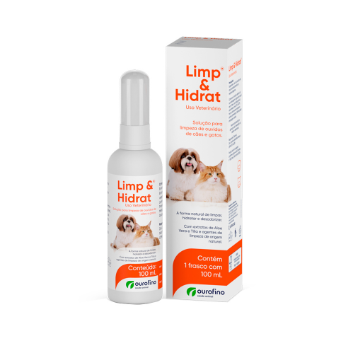 Limp e Hidrat solução para limpeza de ouvidos de cães e gatos  Ourofino 100ml