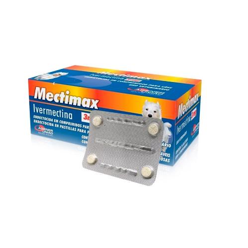 Mectimax 3mg Ivermectina  para Cães blister com 4 Comprimidos
