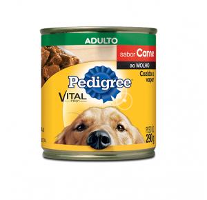 Ração Úmida Pedigree Lata Sabor Carne ao Molho para Cães  Adultos  290g