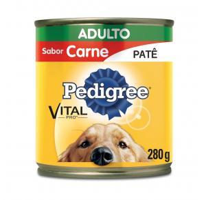Ração Úmida Pedigree Lata Patê para Cães Adultos - Carne 280g