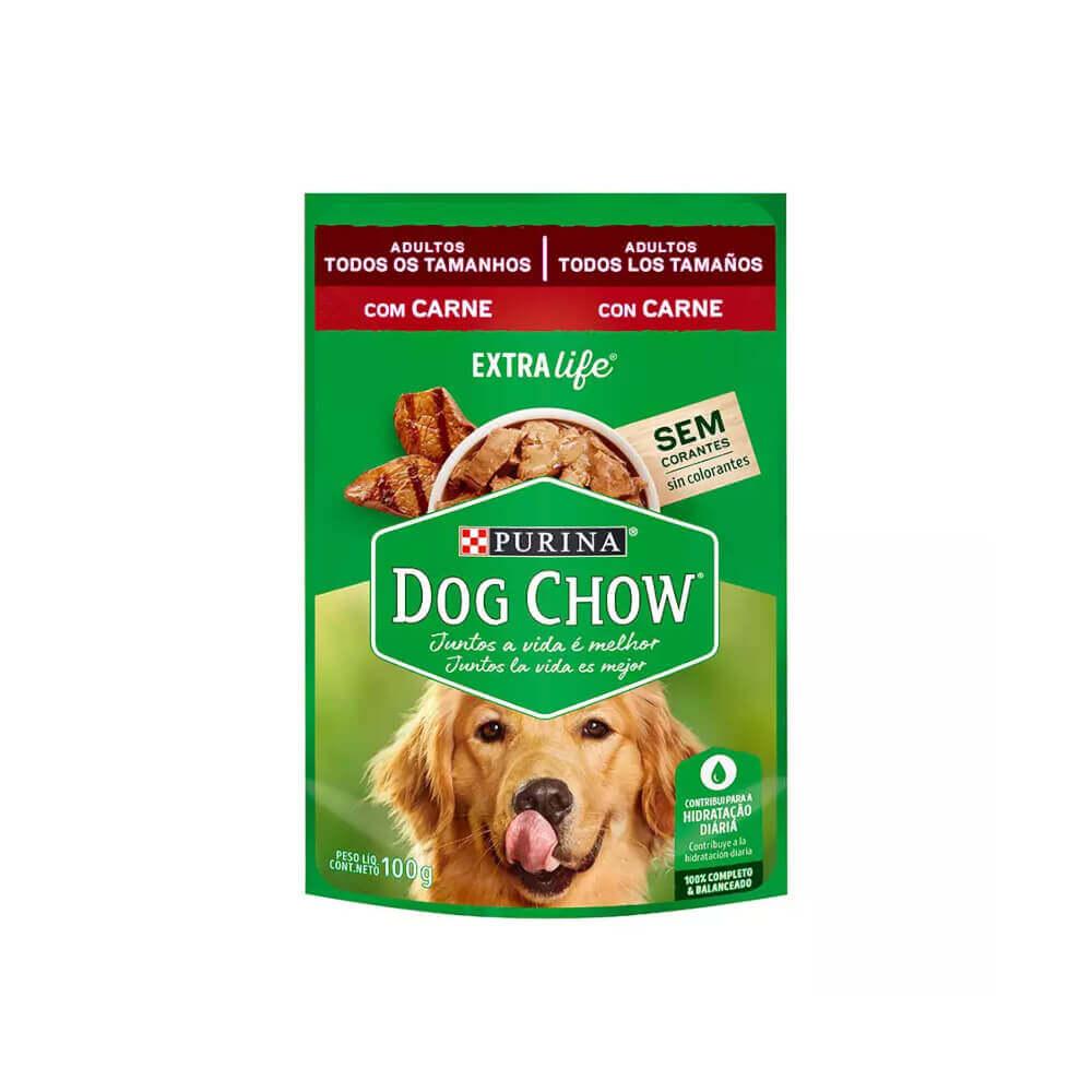 Petisco Sachê Purina Dog Chow Adultos Carne 100g Nestlé