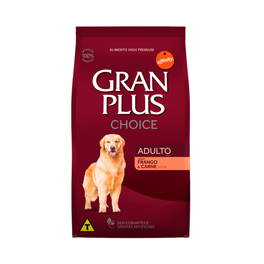 Ração GranPlus Choice Frango e Carne para Cães Adultos - 15kg