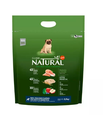 Ração Guabi Natural para Cães Adultos de Porte Pequeno Sensível sabor Salmão e Aveia 2.5kg