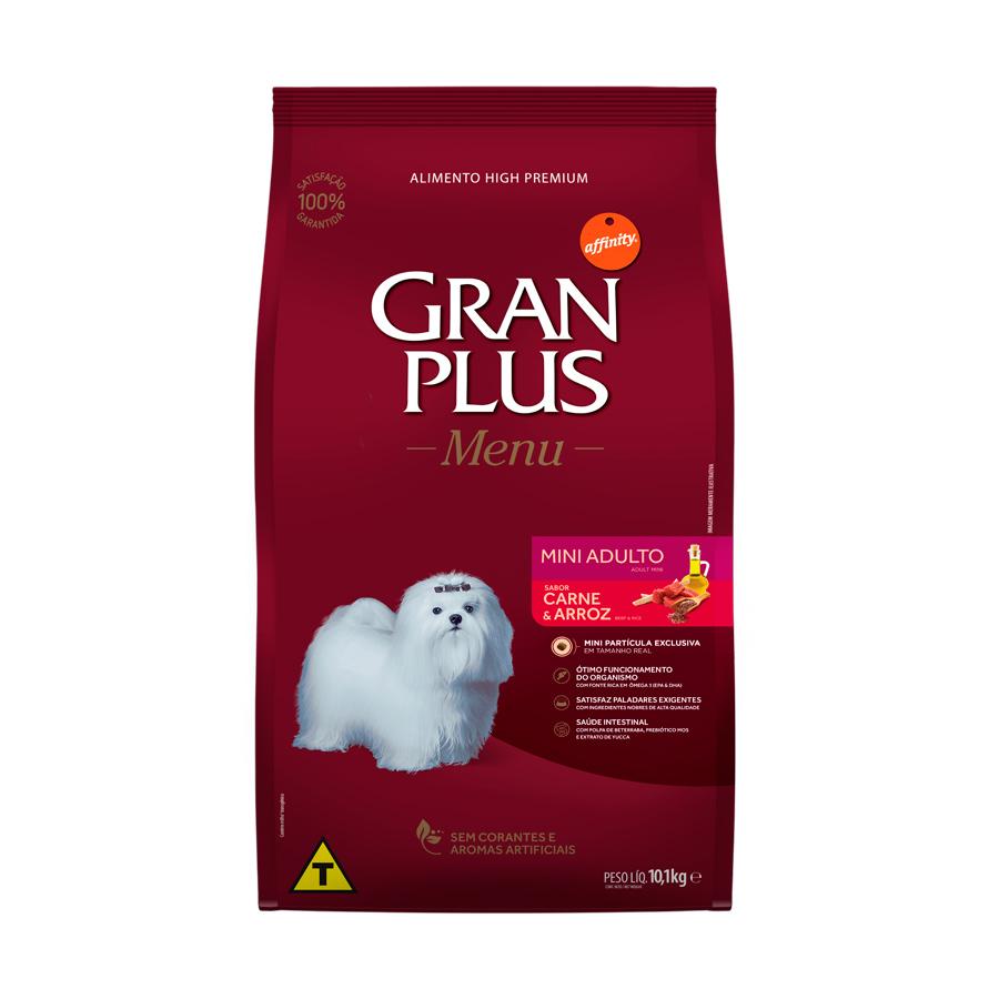 Ração Menu Gran Plus para Cães Adultos Raças Mini sabor Carne e Arroz 10,1kg