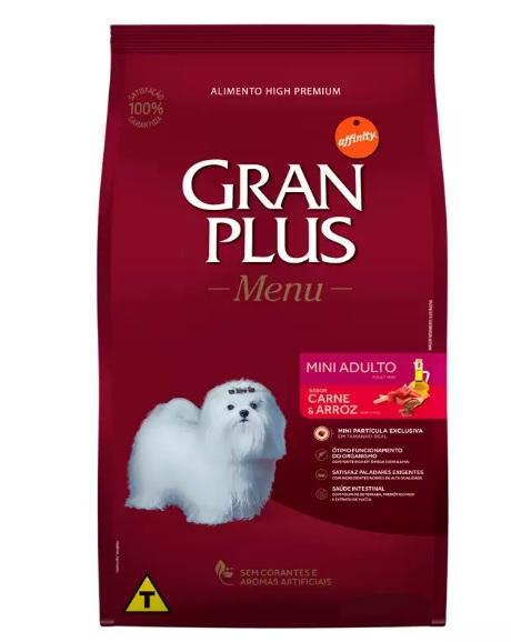 Ração Menu Gran Plus para Cães Adultos Raças Mini sabor Carne e Arroz 3kg