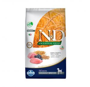 Ração N&D Ancestral Grain para Cães Adultos de Raças Médias Sabor Cordeiro e Blueberry 10,1Kg