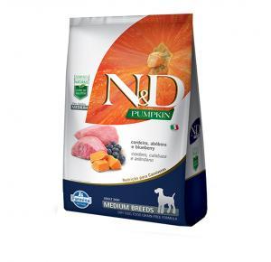 Ração N&D Pumpkin para Cães Adultos Raças Média sabor Cordeiro, Abóbora e Blueberry 10.1kg