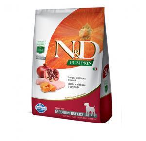 Ração N&D Pumpkin para Cães Adultos Raças Média sabor Frango, Abóbora e Romã 10,1kg