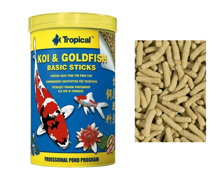 Ração Peixes Koi Goldfish Basic Sticks-Bag 800G tropical