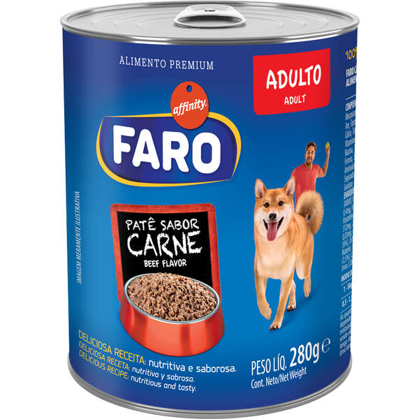 Ração Úmida Faro para Cães Adultos Sabor Carne 280g