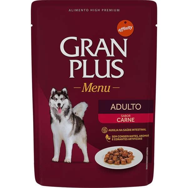 Ração Úmida GranPlus Menu Para Cães Adultos Sachê Sabor Carne 85g