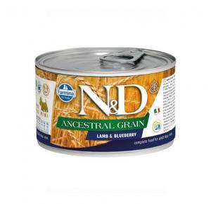 Ração Úmida Lata N&D Ancestral Grain Cordeiro & Blueberry para Cães Adultos 140g