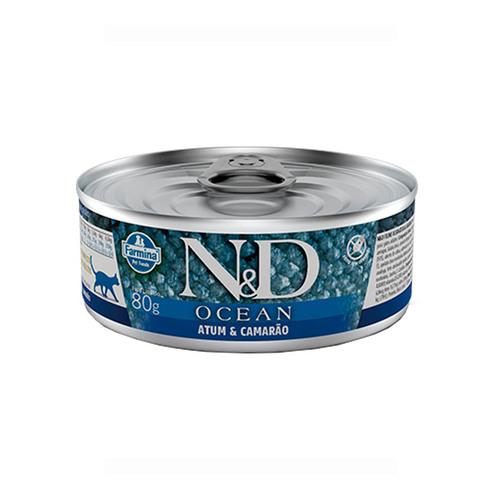 Ração Úmida N&D Ocean Atum & Camarão para Gatos Adultos Lata 80g