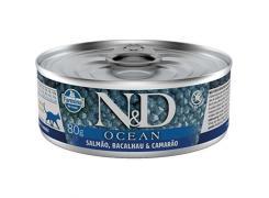 Ração Úmida N&D Ocean Salmão, Bacalhau & Camarão para Gatos Adultos Lata 80g