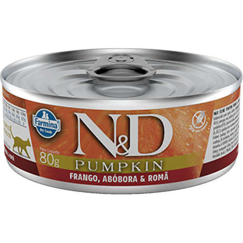 Ração Úmida N&D Pumpkin Frango, Abóbora & Romã para Gatos Adultos Lata 80g