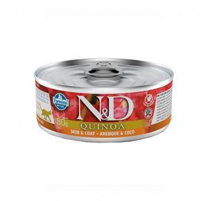 Ração Úmida N&D Quinoa Skin & Coat Arenque & Coco para Gatos Adultos Lata 80g