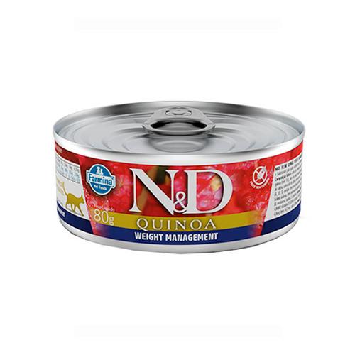 Ração Úmida N&D Quinoa Weight Management para Gatos Adultos Lata 80g