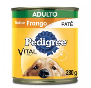 Ração Úmida Pedigree Patê Lata para Cães Adultos Sabor Frango - 280g