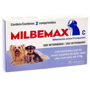 Vermífugo Milbemax C Cães até 5 Kg (2 Comprimidos)