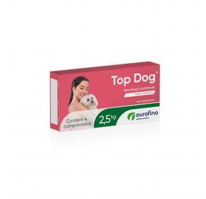 Vermífugo Top Dog para Cães de até 2.5kg com 4 Comprimidos Ourofino