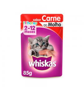 Whiskas Sachê para Gatos Filhotes Sabor Carne ao Molho - 85g