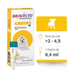 Bravecto Transdermal Antipulgas E Carrapatos para Cães de 2 a 4.5kg