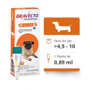 Bravecto Transdermal Antipulgas E Carrapatos para Cães de 4.5 a 10kg