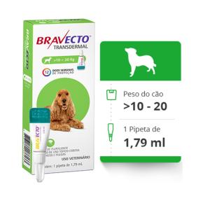 Bravecto Transdermal Antipulgas E Carrapatos para Cães de 10 a 20kg