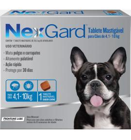 NexGard antipulgas cães de 4,1 a 10 Kg - 1Tablet