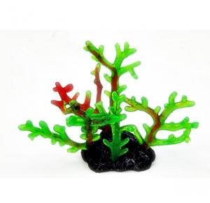 Enfeite De Silicone Coral Acropora Color Verde E Vermelha