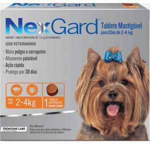 Tablet mastigáveis NexGard antipulgas e carrapatos para cães de 2 a 4 Kg 11,3mg